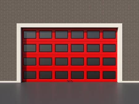 sectional door: Red modern industrial door with windows
