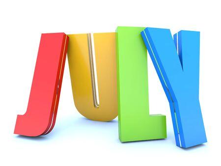 month 3d: July - calendar month - 3D colored letters