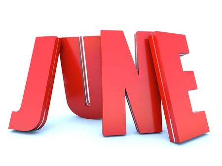 month 3d: June - calendar month - 3D red letters