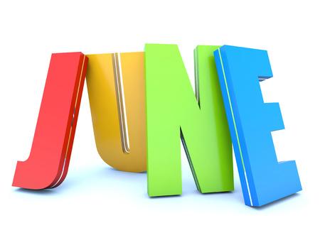 month 3d: June - calendar month - 3D colored letters Stock Photo