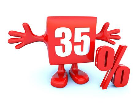 35: El 35 por ciento de descuento Foto de archivo