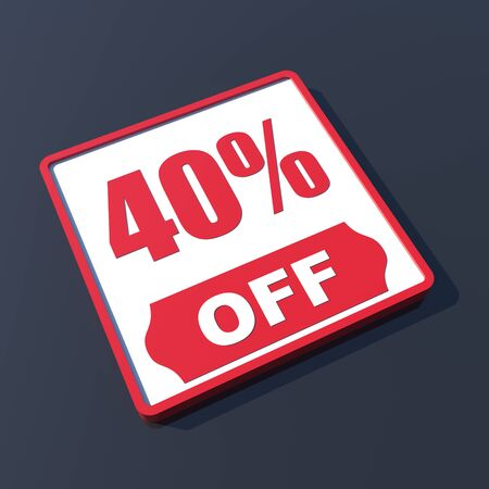 40 percent off on 3D red icon or button photo