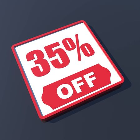 35 percent off on 3D red icon or button photo
