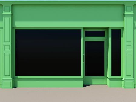 Groene winkelpui met grote ramen. Groene winkel gevel.