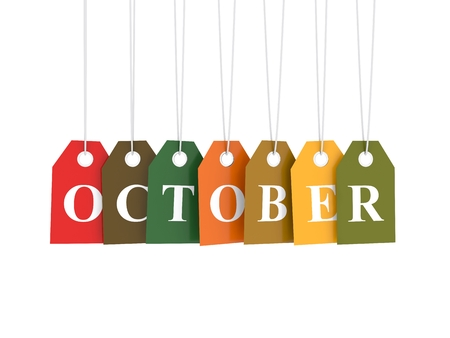 october: October tag on colored hanging labels. Fall colors Stock Photo