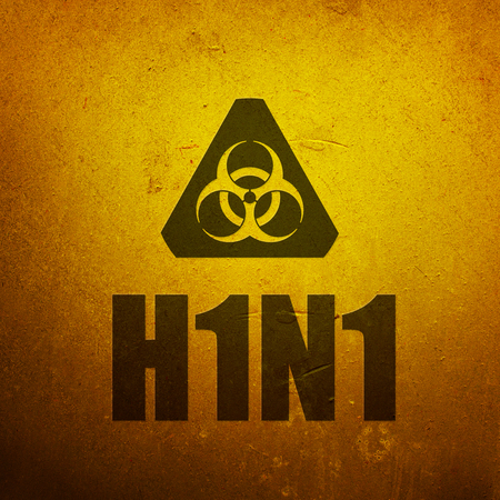 H1N1 Swine Flu biohazard yellow alert sign photo