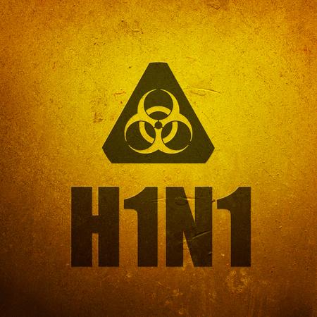 h1n1: H1N1 Swine Flu biohazard yellow alert sign