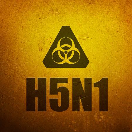 h5n1: H5N1 Avian Flu - Bird Flu. Biohazard yellow alert sign Stock Photo