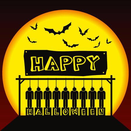 murdering: Rope hang people waiting gallows. Happy halloween!