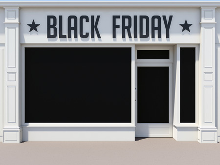 Black Friday in the shoping center. White store facade.
