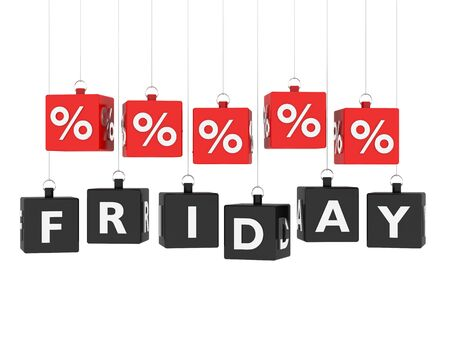 Friday sales cubes hanging on white background photo