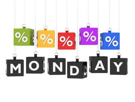 Monday sales cubes hanging on white background photo