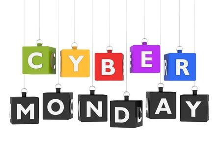 holiday profits: Cyber Monday - cubes hanging on white background