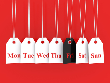today: Days of the week symbols and black friday promotions Stock Photo