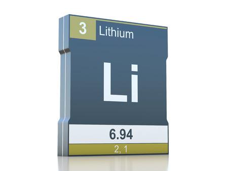 lithium: Lithium symbol - element from the periodic table