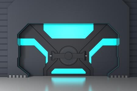 Futuristic metallic gate Imagens