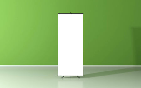 blank billboard: Blank roll up poster - vertical billboard for text