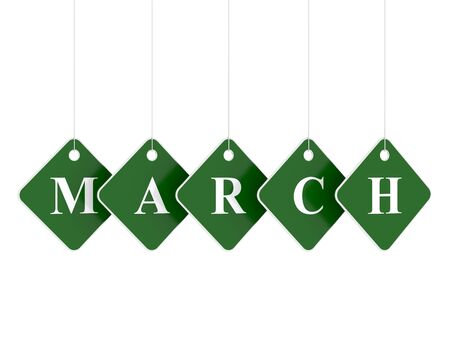 whie: March tag on green hanging labels