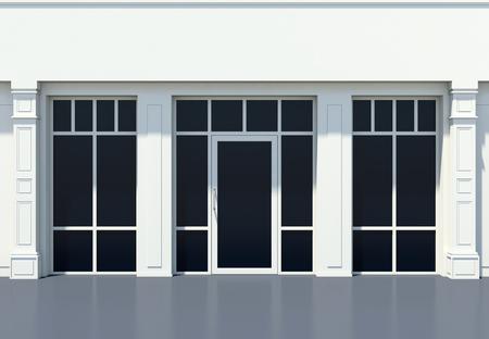 Shopfront met grote ramen. Witte winkel gevel.