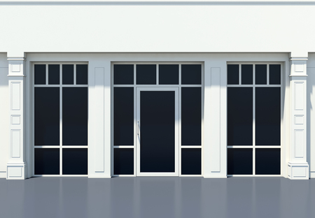 Shopfront with large windows. White store facade.