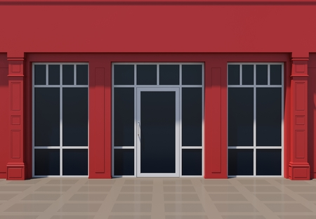 Red shopfront with large windows. Red store facade.