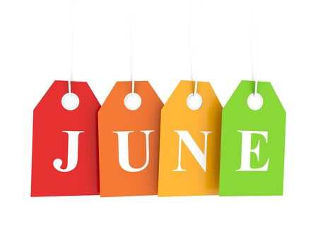 june: June tag on colored hanging labels. June discounts