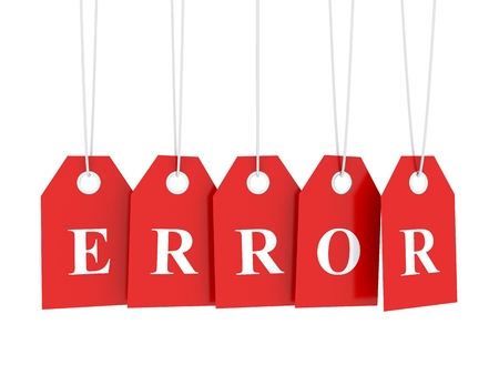 error message: Error message on red hanging labels