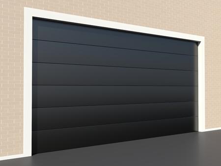 Moderne zwarte garagedeur op bakstenen muur Stockfoto