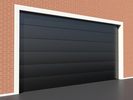 sectional door: Modern black garage door on brick wall