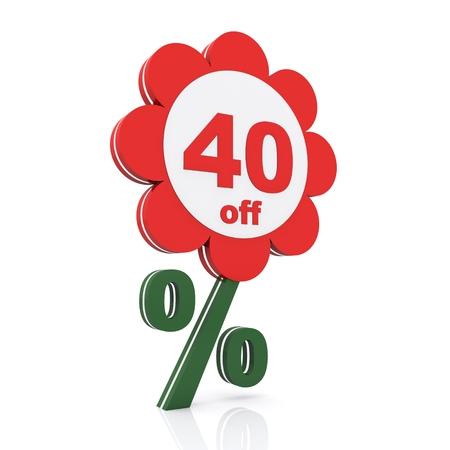 40: 40 percent off. Buy now Stock Photo