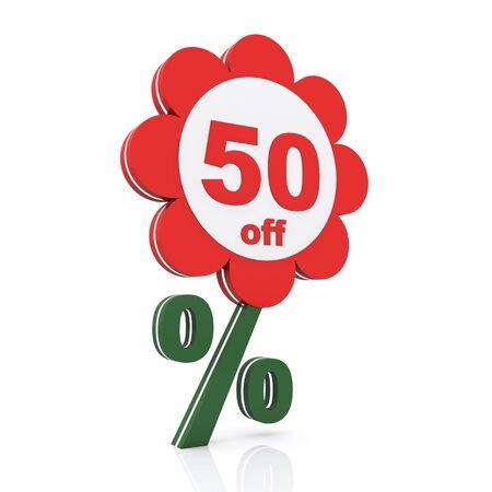 50: 50 percent off. Buy now Stock Photo