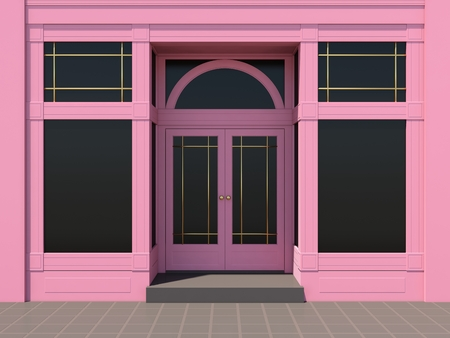 shopfront: Pink store. Classic shopfront in the sun
