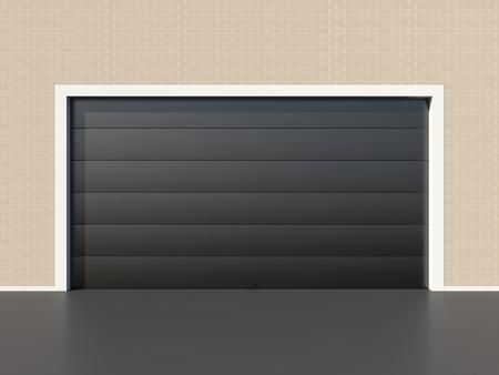 sectional door: Modern black garage door