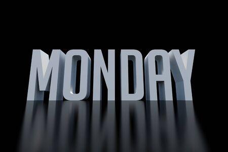 weekdays: Monday text on black background