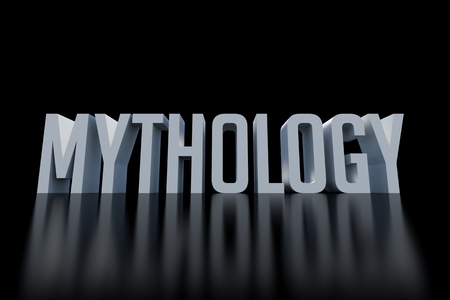 dark: Mythology word on dark background Stock Photo