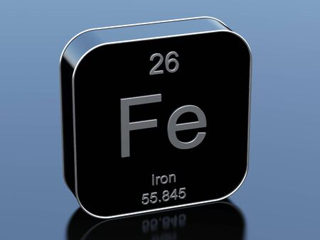 periodic table: Iron from periodic table Stock Photo