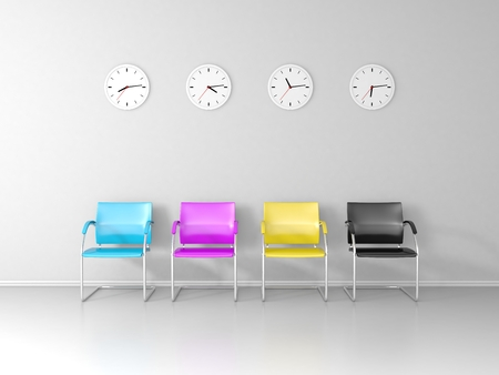 cmyk abstract: CMYK Colored chairs and four different clocks in the waiting room