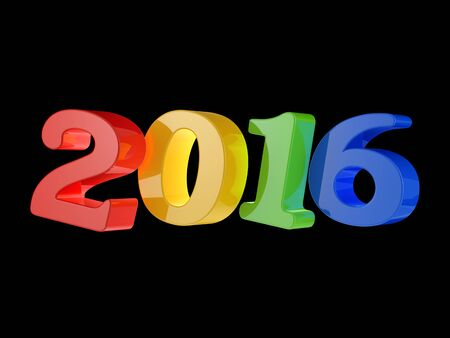 event calendar: 2016 happy new year isolated on black background