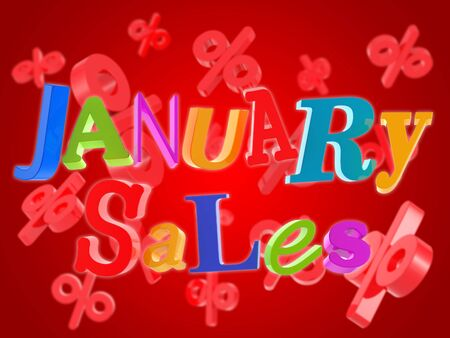 the january: Ventas de enero en fondo rojo