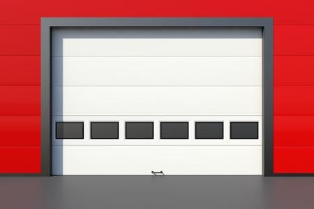 sectional door: Sectional industrial door with windows on red industrial wall Stock Photo