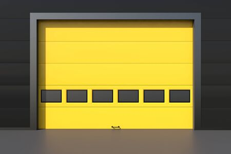 sectional: Sectional industrial yellow door with windows on industrial wall