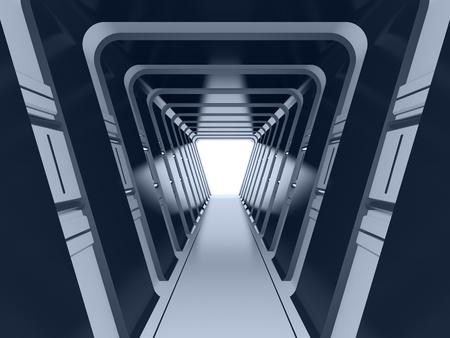 tunnel: Futuristic dark tunnel