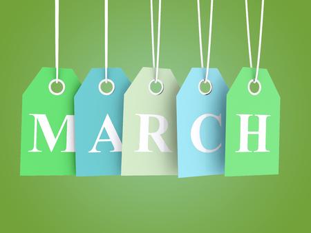 Las ventas de marzo - etiquetas de colores sobre fondo verde