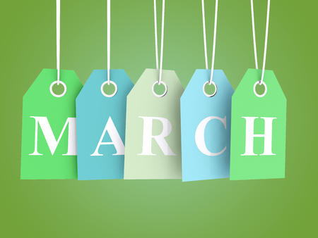 mar: March sales - colored labels on green background