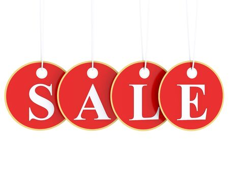 sale tag: Sale tag on red hanging labels Stock Photo