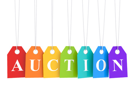 Auction banner Stockfoto