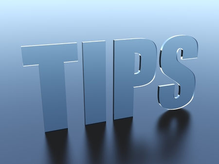 Tips glass text Stockfoto