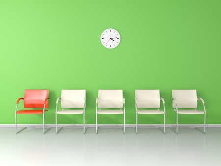 green wall: Nice waiting room with green wall Stock Photo