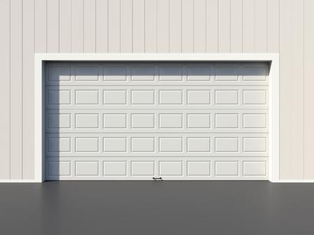sectional door: Modern white garage door Stock Photo