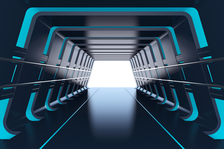 Futuristic tunnel with blue lights